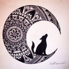 la hermosa luna junto con un lobo.
