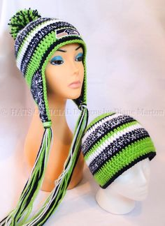 Looking for crocheting project inspiration? Check out Seattle Seahawk crochet hat by member Diane Marton. - via @Craftsy