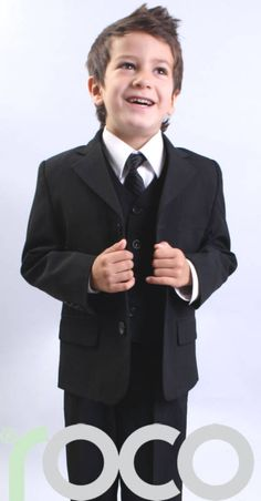 Custom white two Button Boy Tuxedos Notched Lapel Children Suit Kid Wedding/Prom Suits three piece suit (jacket+vest+pants+tie) Toddler Suits, Kids Suits, Funeral Suit, Black Tux Wedding, Boys Tuxedo, Boy Outfits, Fashion Outfits, Little Boy Fashion, Stylish Boys