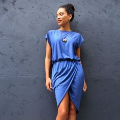 Make this designer-inspired tulip or wrap dress for $15. Free tutorial for making this dress in any size.
