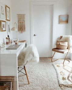 Work space in gold and white. Home office, desk decoration