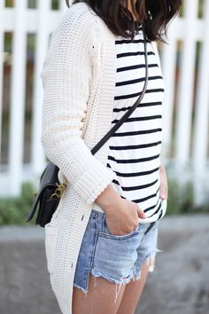 jean shorts + stripes + cable knit sweater