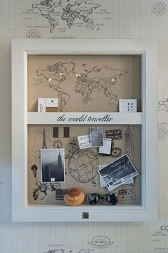 Inspiration: the world traveler geschenke декор комнаты, первый дом и домаш Rivera Maison, Travel Wall, Travel Box, Travel Shadow Boxes, Travel Memories, Inspired Homes, My New Room, World Traveler, Picture Frames