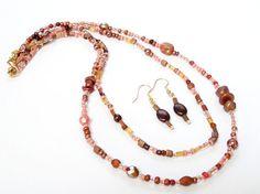 Brown Layers Czech Necklace,... from BijiJewelry on Wanelo