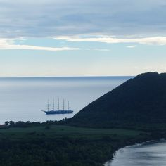 The Royal Clipper, world's largest fully-rigged sailing vessel as viewed from Manicou River Resort West Indies, Worlds Largest, Sailing, River, Island, Mountains, Block Island, Islands, Boating