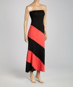 Look what I found on #zulily! Black & Coral Stripe Strapless Maxi Dress by La Class #zulilyfinds