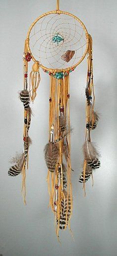 Center of Spider Woman's web is a turquoise Zuni bear and a 1000 year old Hohokam pottery shard. On the left is a red jasper turtle and a medicine pouch containing sacred sage. A large turquoise nugget is suspended from the bottom of the hoop.
