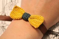 Crochet Bow Ribbon Bracelet Mustard Yellow Navy by CatWomanCrafts, $8.00