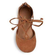 Toddler Girls' Tenley Ghillie Ballet Flats Cat & Jack - Cognac (Red) 10