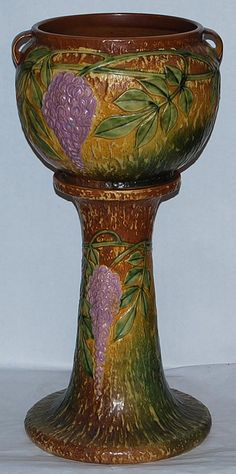 Roseville Pottery Wisteria Tan Jardiniere and Pedestal