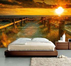 Fotobehang, Muurposter, Strand met zonsondergang 350 x 260 cm.