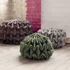 Jule Waibel's pine cone-shaped seats  are made by steam-folding wool felt