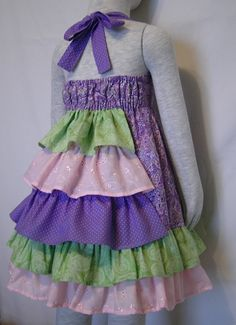 Girl's ruffle bustle back dress. Too cute!!