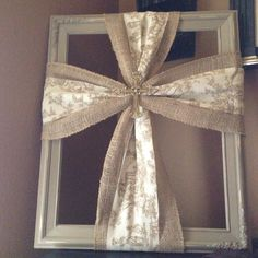 Burlap & brown toile cross on a shabby chic painted  frame