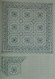 . Blackwork Patterns, Blackwork Embroidery, Zentangle Patterns, Cross Stitch Embroidery, Embroidery Patterns, Stitch Patterns, Isometric Sketch, Graph Paper Art, Bargello Quilts