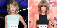 TAYLOR SWIFT one of the BEST CELEBRITY HAIR CHANGES OF 2015. The singer sported a shaggy cut and full fringe at the iHeartRadio Music Awards that gave off a cool, Saint Laurent rocker vibe.