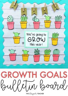 Create a garden full of growth goals for your bulletin board with this growth mindset, cactus theme bulletin board kit! Includes a low-prep version and a craftivity version, plus several different headers! Hallway Bulletin Boards, Summer Bulletin Boards, Teacher Bulletin Boards, Back To School Bulletin Boards, Preschool Bulletin Boards, Summer Bulliten Board Ideas, Writing Bulletin Boards, Kindness Bulletin Board, News Bulletin