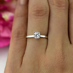 25d1b9175 1/2 ct Promise Ring, Engagement Ring, Classic Solitaire Ring, Round Man  Made Diamond Simulant, Wedding Ring, Bridal Ring, Sterling Silver