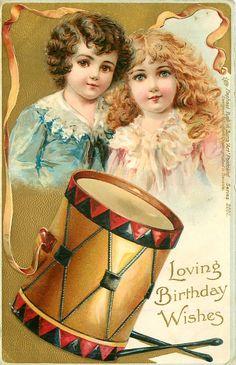 LOVING BIRTHDAY WISHES  boy & girl, drum Frances Brundage (1854–1937) #Brundage #vintage #printable #ephemera #girl #boy #birthday #toys