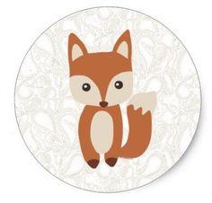 1.5inch Cute Baby Fox Classic Round Sticker