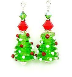 Christmas Tree Earrings Christmas Lampwork by BeadzandMore on Etsy, $29.00