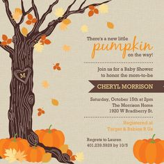 Rustic Autumn Leaves Halloween Baby Shower Invitation LOVE IT! LOVE PUMPKIN RELATED ANYTHING!!!!