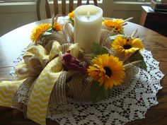 Sunflower Deco Mesh Candle Ring