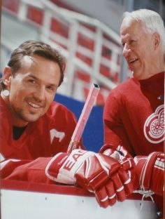 Love!! My hockey husband and hockey father in law!  lol ;) >>>Detroit Red Wings Legends - Steve Yzerman and Gordie Howe - just want to squeeze them!!
