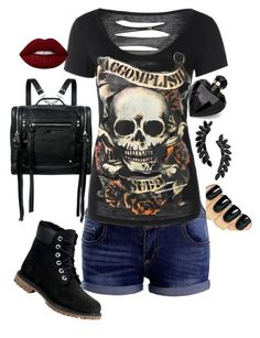"""""""Untitled #184"""" by anaflores7822 ❤ liked on Polyvore featuring Timberland, McQ by Alexander McQueen, Lipsy, Lime Crime and Cristabelle"""