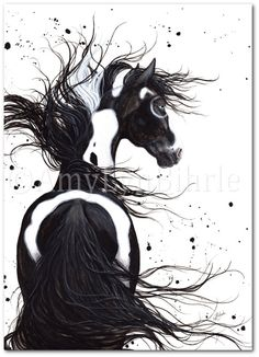 Majestic Horse Black White Pinto Paint Native by AmyLynBihrle, $8.99