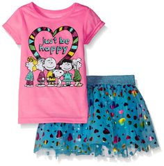 Peanuts Little Girls' Be Happy Set, Ultra Pink, 5. Rainbow foil and shimmer mesh skirt with lurex waistband. Peanuts glitter screen-print.