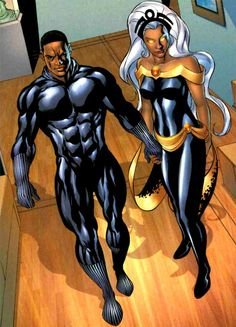 Two of my fave comic book heroes T',Chala and Storm were married. This picture is bomb! Black Panther Marvel, Black Panther Storm, Comic Book Characters, Comic Book Heroes, Comic Books Art, Comic Art, Comic Character, Black Girl Art, Black Girl Magic