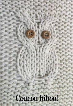 Hibou à tricoter avec une image sur laquelle on peut compter les mailles et les rangs