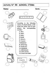school supplies worksheets - Buscar con Google