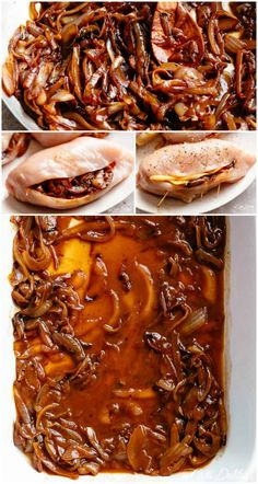 French Onion Stuffed Chicken Casserole makes for a delicious dinner! Juicy, succulent chicken breasts stuffed with caramelized onions and glorious melted cheese. A perfect weeknight or weekend dinner. Low Carb and Keto approved! Classic French Onion Soup, French Onion Chicken, Chicken Casserole, Casserole Recipes, Skillet Chicken, Baked Chicken Breast, Stuffed Chicken Breasts, Stuffed Chicken Recipes, Healthy Stuffed Chicken