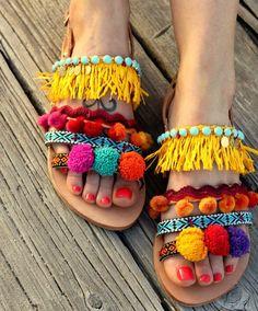 "Pom pom Sandals, Greek leather sandals, Boho chic sandals, Colorful pom poms ""Dominicana"""