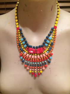 This little piece of sunshine has been created by using this gorgeous colour palate of three tone orange, two tone blue, a splash of peach.  #statementnecklace #bibnecklace #rhinestonenecklace
