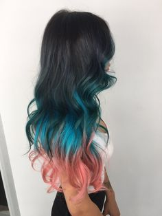 21 Trendy Black Ombre Hair Ideas to Pull Off Ombre Hair Color, Black Hair Ombre, Hair Color For Black Hair, Ombre Hair Color, Cool Hair Color, Blue Hair, Turquoise Hair Ombre, Coral Hair, Teal, Semi Permanent Hair Color