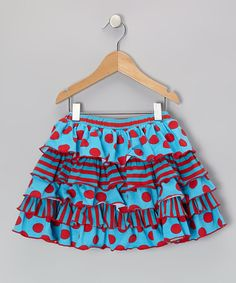 Take a look at this Turquoise & Red Mia Skirt - Toddler & Girls by Mustard Pie on #zulily today!