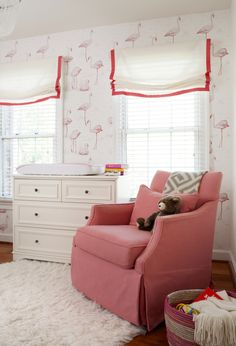 Perfect pink modern glider in this fun, flamingo nursery!
