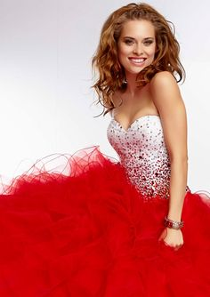 Prom Dress From Paparazzi By Mori Lee Dress Style 95119 Contrast Beaded Bodice with Ruffled Tulle Prom Skirt