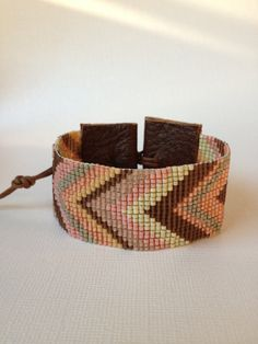 Chevrons loom beaded cuff in chocolate peach and pink