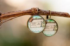 Happiness is a journey Dangle Earrings, Whimsical Earrings, Photo Jewelry, Art Image Earrings, Picture Earrings Jewelry, Green Earrings