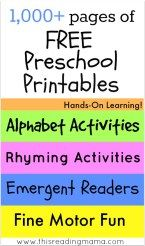 pages of FREE Preschool Printables ~ Hands-On Learning for the Alphabet, Rhyming, Emergent Readers, Fine Motor and MORE! This Reading Mama Preschool Education, Free Preschool, Preschool Printables, Preschool Lessons, Preschool Kindergarten, Preschool Learning, Preschool Activities, Teaching, Preschool Curriculum Free
