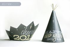 NYE party hat printables