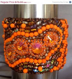 ON SALE Neon Orange Bead Embroidered Cuff Orange by bjswearableart, $45.00