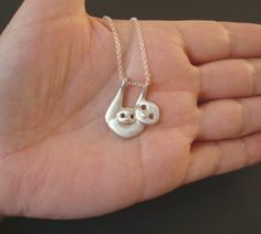 Sloth Family Necklace sterling silver Tree sloth by zoozjewelry, $42.00
