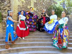 Traditional Mexican Dresses from different regions of the country.