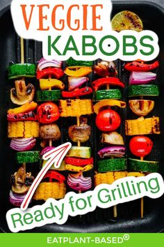 Veggie Kabobs from EatPlant-Based are so easy to make, and they are a huge crowd pleaser at summer barbecues! These delicious vegan veggie kabobs can be ready for grilling in no time! They are the perfect vegan summer side dish! You will love how easy they are to make! Try these delicious veggie kabobs at your next barbeque! Vegan Grilling, Grilling Recipes, Vegetarian Recipes, Snack Recipes, Free Recipes, Portobello Mushroom Burger, Summer Barbecue, Bbq, Veggie Kabobs