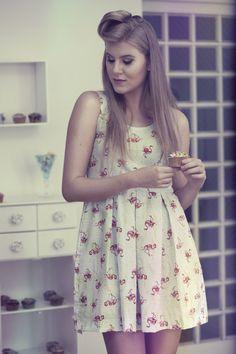 Vestido Flamingos - Bruna Pepper Dress Retro 50s Pin Up Kitsch Rockabilly Girly